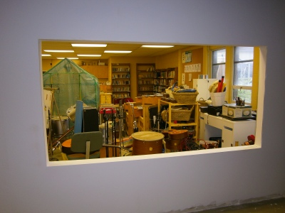Summer renovations: looking out from the new Arts Centre.