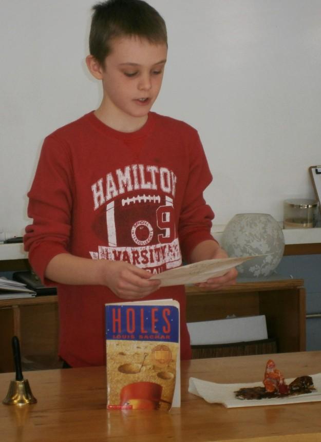 DVMS UpperElementary student presenting novel analysis.